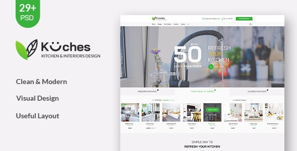 Kuches - Kitchen & Interior PSD Template - Business Corporate