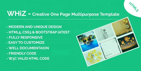 Whiz - Creative One Page Multipurpose HTML Template - Creative Site Templates