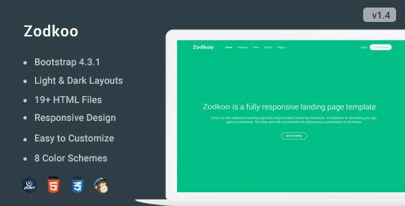Zodkoo - Responsive Bootstrap 4 Landing Page Template - Landing Pages Marketing