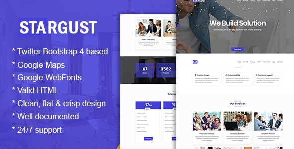 One Page HTML Bootstrap 4 Template - Corporate Site Templates