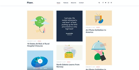 Pisen | Minimalist Blog PSD Template