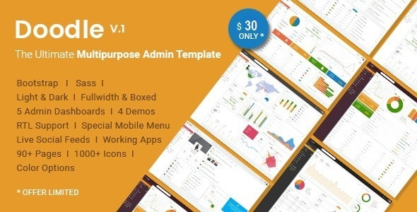 Doodle - Multipurpose Admin Template by Hencework | ThemeForest