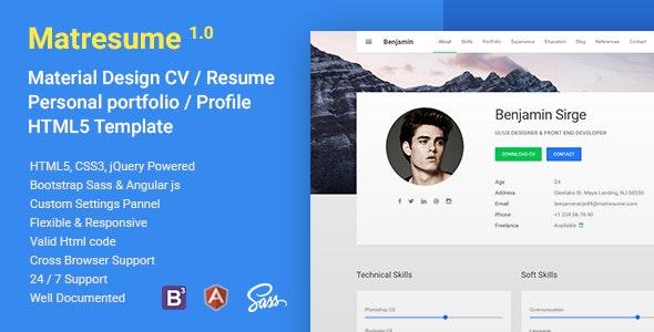 Matresume - Material CV / Resume / vCard / Portfolio Html Template - Resume / CV Specialty Pages
