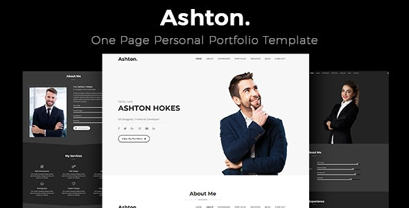 Ashton - One Page Portfolio - Portfolio Creative
