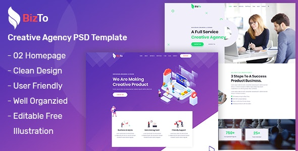 BizTo - One Page Creative Agency PSD Template - Creative Photoshop