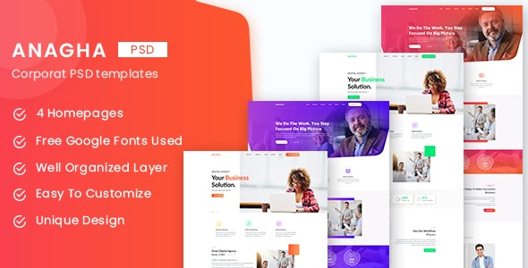 Anagha - Business and Corporate PSD Templates - Corporate Photoshop