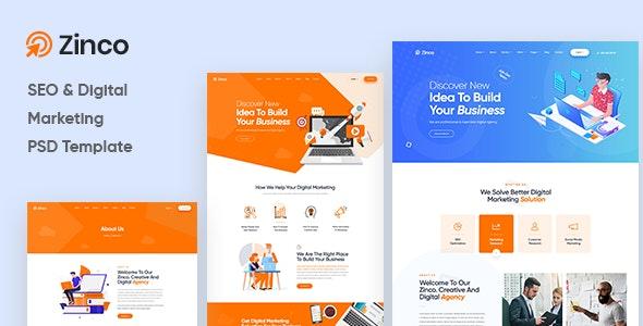 Zinco - Digital Marketing Agency PSD Template - Marketing Corporate