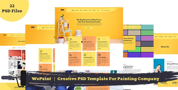 WePaint - Creative PSD Template For Painting Company - Corporate Photoshop
