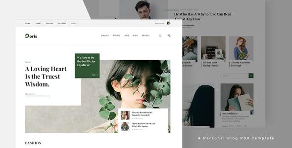 Doris - Personal Blog PSD Template - Personal Photoshop
