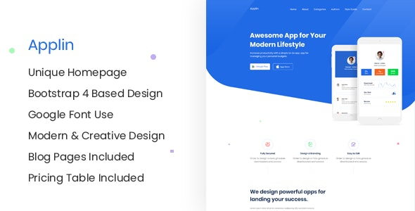 Applin - Modern App Landing Page Site Template - Creative Site Templates