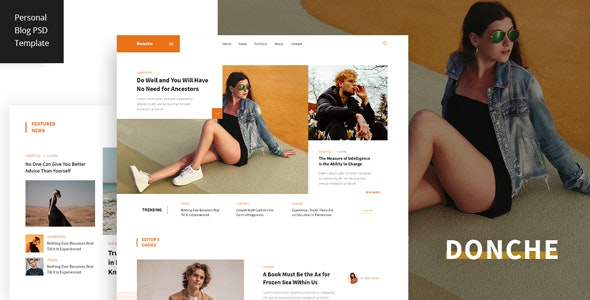 Donche - Personal Blog PSD Template - Personal Photoshop