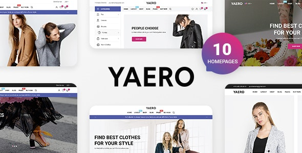 Yaero - Responsive eCommerce PSD Template - Fashion Retail