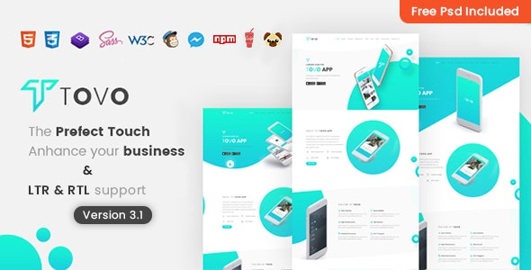 Tovo - HTML App Landing Page - Software Technology
