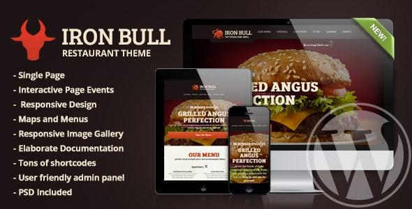 Iron Bull Restaurant Wordpress Theme - Food Retail