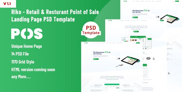 Riko- Retail & Resturant Point of Sale Landing Page PSD Template - Technology Photoshop