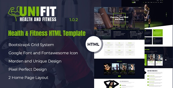 Unifit - Health and Fitness HTML Template - Health & Beauty Retail
