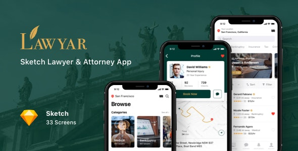 Lawyar - Sketch Lawyer & Attorney App - Sketch UI Templates