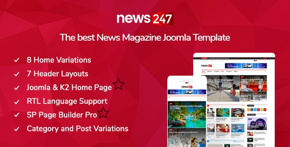 News247 - News/Magazine Joomla Template - Blog / Magazine Joomla