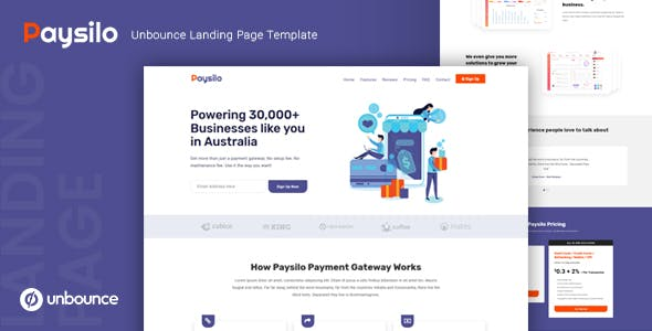 Paysilo — Responsive Unbounce Landing Page Template