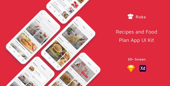 Roka - Recipes and Food Plan App UI Kit by betush | ThemeForest