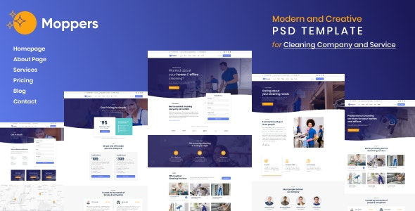 Moppers - Cleaning Company and Services PSD Template - PSD Templates