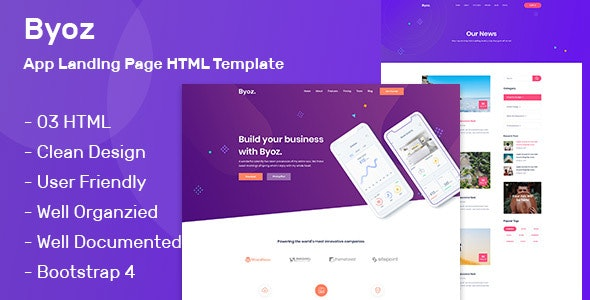 Byoz - App Landing Page HTML Template - Software Technology