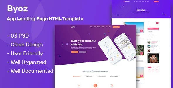 Byoz -  App Landing Page PSD Template - Software Technology