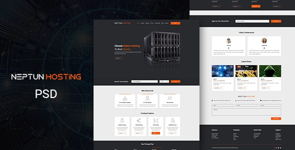 Neptun - One Page Hosting PSD Template - Hosting Technology