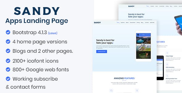 SANDY - Apps Landing Page