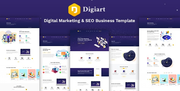 Digiart - Digital Agency  PSD Template - Marketing Corporate