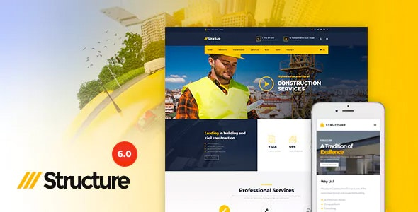 Structure - Construction Industrial Factory WordPress Theme - Business Corporate