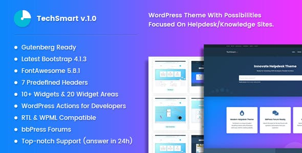 Download TechSmart - Helpdesk and Knowledge Base WordPress Theme