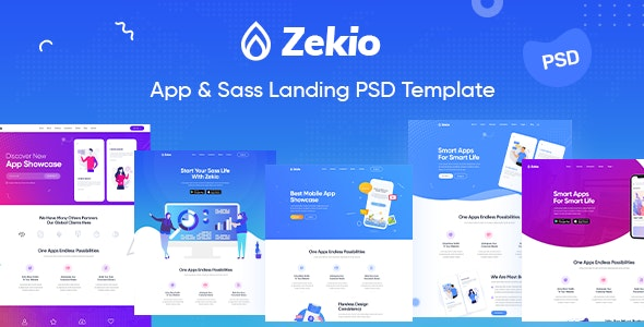 Zekio - App & Sass Landing PSD Template - Technology Photoshop