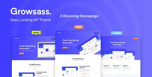 Growsass - Software Landing Page WordPress Theme - Software Technology