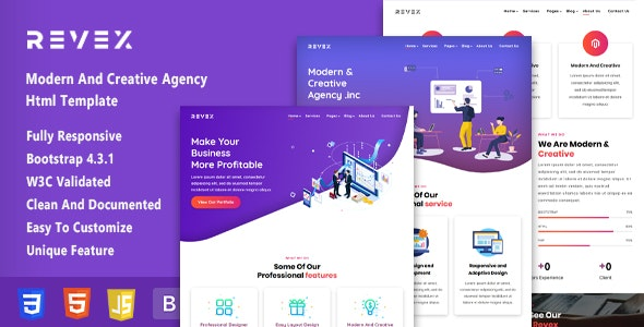 Revex - Bootstrap Agency HTML5 Template - Business Corporate