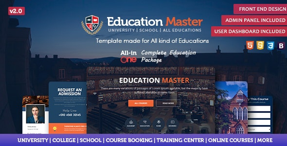 Education Master Template - Corporate Site Templates