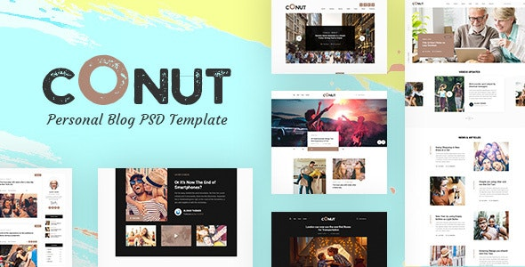 Conut - Personal Blog PSD Template - Personal Photoshop