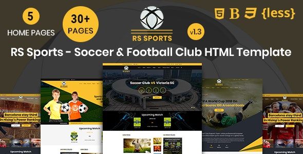 RSSports - Soccer & Football Club HTML Template - Entertainment Site Templates