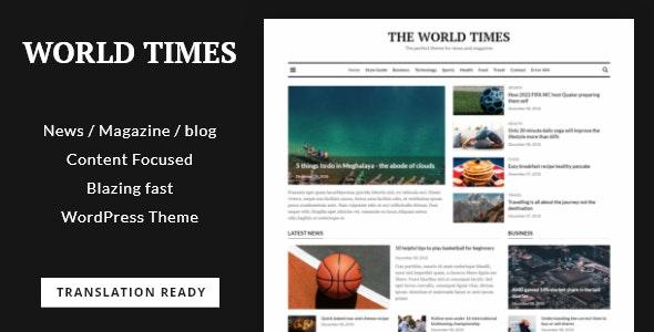 World Times - Newspaper & Magazine Style WordPress Theme - Blog / Magazine WordPress