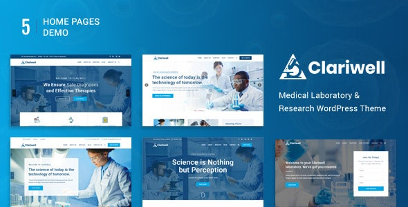 Clariwell – Medical Laboratory & Research WordPress Theme - Business Corporate