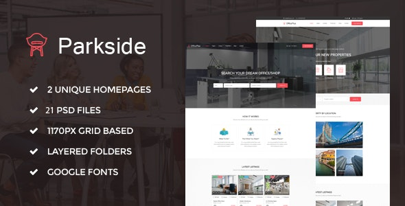 Parkside - RealEstate Office Property PSD Template - Business Corporate