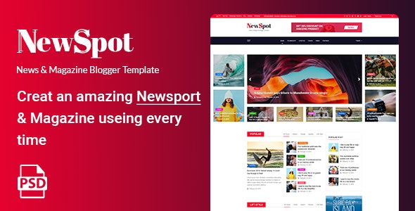 NEWSPOT - News & Magazine Blogger PSD Template - Business Corporate
