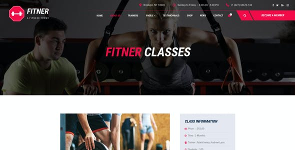 Fitner - Gym & Fitness PSD Template