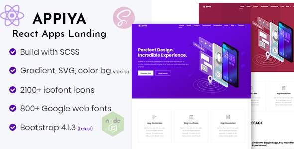 Appiya - React App Landing Page - Technology Site Templates