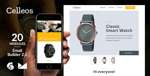 Celleos Responsive Email Template + Online Emailbuilder 2.1 - Newsletters Email Templates