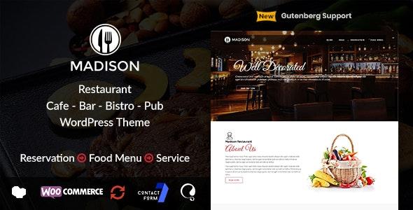 Madison | WordPress Restaurant Theme - Restaurants & Cafes Entertainment