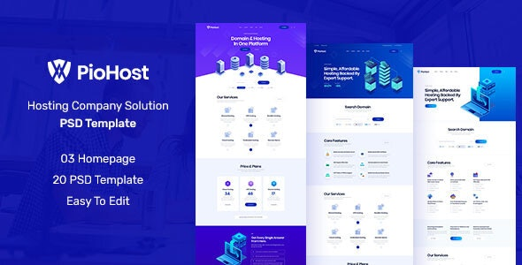 Piohost - Domain and Web Hosting PSD Template - Hosting Technology
