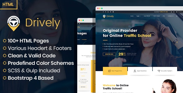Drively - online driving school HTML template - Business Corporate