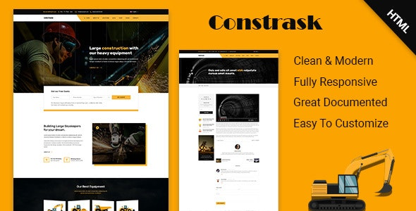 Constrask - Heavy Construction Business HTML Template - Corporate Site Templates