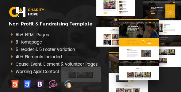 Charity Hope - Non-Profit and Fundraising Template - Charity Nonprofit